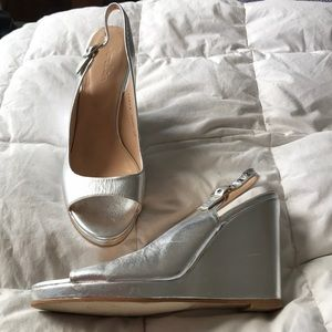 Boden Silver Peep To Wedges Size 37